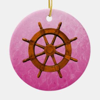 Rueda de madera de la nave adorno redondo de cerámica