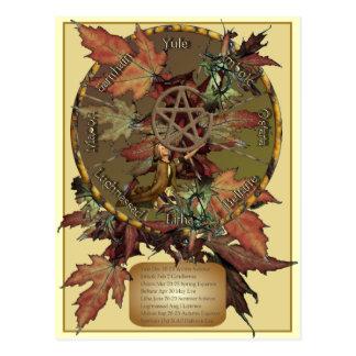 Rueda de Wiccan con la postal del pentáculo
