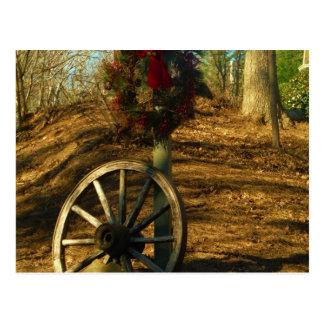 Rueda del navidad guirnalda y de carro postal