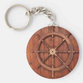 Rueda náutica del timón de las naves en la pared llavero redondo tipo chapa
