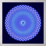 Rueda púrpura OM de la meditación de la flor de Lo Poster