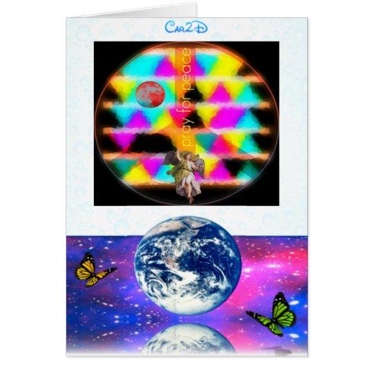 Ruegue para la paz tarjeta de felicitación