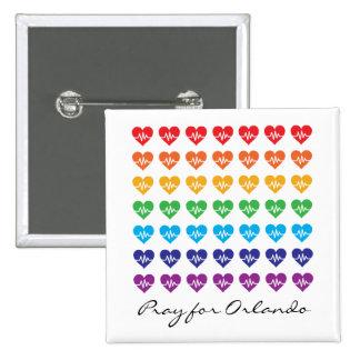 Ruegue para Orlando un corazón del arco iris del Chapa Cuadrada