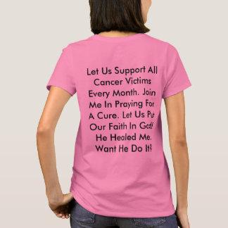 Ruegue para una camiseta de la curación del cáncer