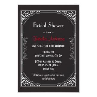 Rugido 20s negro - invitación nupcial de la ducha