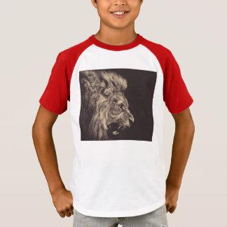 rugido del león del arte del lápiz del león blanco camiseta