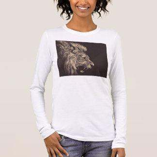 rugido del león del arte del lápiz del león blanco camiseta de manga larga