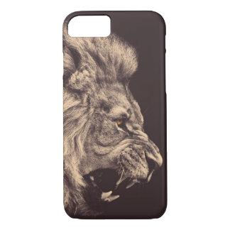 rugido del león del arte del lápiz del león blanco funda iPhone 7