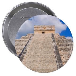 Ruina maya de Chichen Itza en México Chapa Redonda De 10 Cm