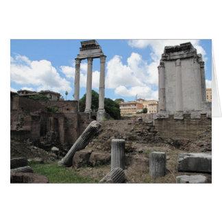 Ruinas antiguas del pilar del templo del ágora tarjeta de felicitación