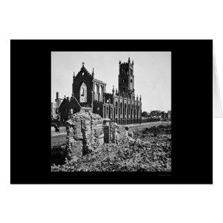Ruinas de la catedral St. John en Charleston 1865 Tarjeta