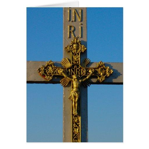 Rumania, capilla del borde del camino, crucifijo tarjeton