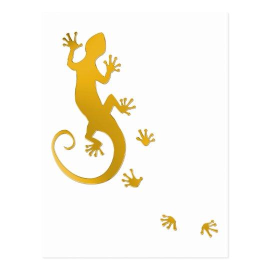 Running salamanquesa de oro   fondo transparente postal