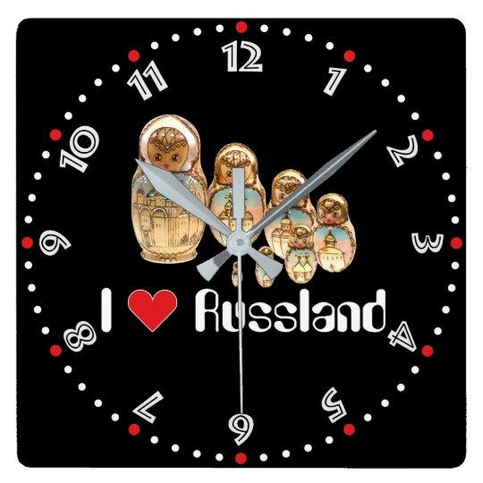 Rusia - Russia Babuschka Matrjoschka Wanduhr - Reloj Cuadrado