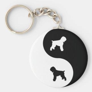 Ruso negro Terrier Llavero Redondo Tipo Chapa