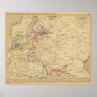 Russie, Pologne, ante, Norwege, en 1840 de Danemar Póster