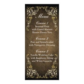 rustic brown regal wedding menu rack card design