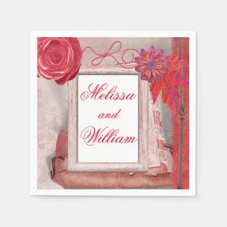 Rústico bonito rojo servilletas de papel