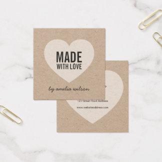 Rústico elegante hecho con amor con el corazón tarjeta de visita cuadrada