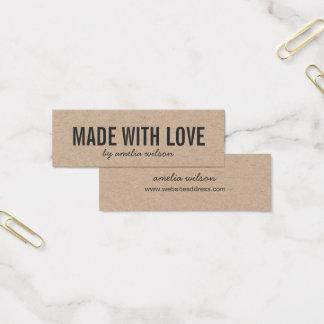 Rústico elegante simple hecho con el amor Kraft Tarjeta De Visita Mini