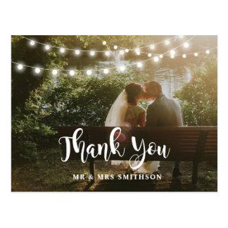 Rústico gracias invitación de boda de las luces de postal