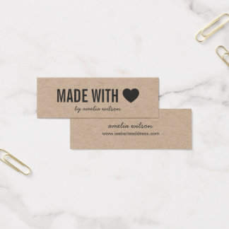 Rústico simple del corazón hecho con el amor Kraft Tarjeta De Visita Mini