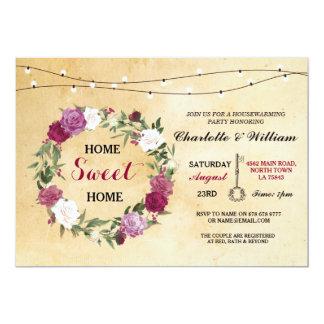 Rústicos florales del estreno de una casa casero invitación 12,7 x 17,8 cm