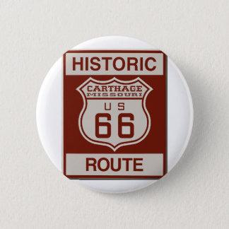 Ruta 66 de Cartago Chapa Redonda De 5 Cm