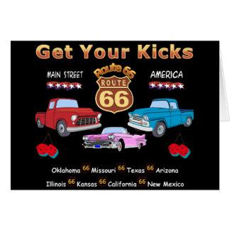 Ruta 66 de los años 50 del vintage tarjeton