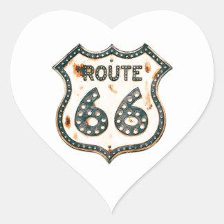 Ruta 66 pegatina en forma de corazón