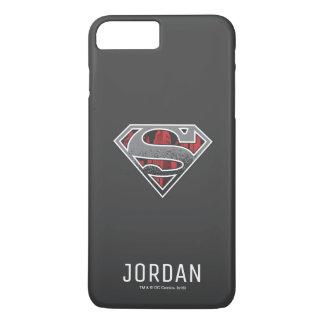 S-Escudo nombre gris y rojo del | del superhombre Funda iPhone 7 Plus