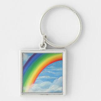 S-he' s.a. rainbow llavero cuadrado plateado