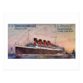 S.S. Buque de vapor del vintage de Francia Postal