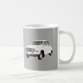 Saab 96, blanco, taza de café