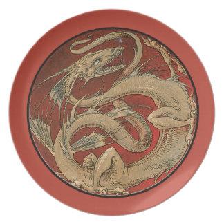 Saber del saber del dragón - arte Nouveau Platos De Comidas