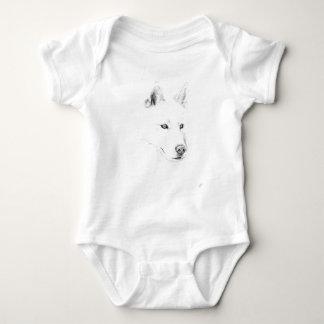 Sable ojos azules del husky siberiano de un arte body para bebé
