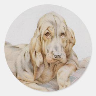 Sabuesos lindos del vintage, perros de perrito por pegatina redonda