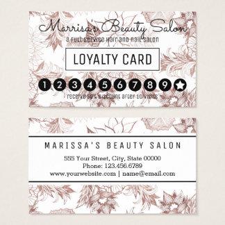 Sacador floral de la lealtad del oro color de rosa tarjeta de visita