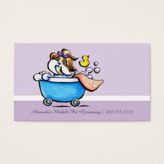 Sacador púrpura móvil de la lealtad de Shih Tzu Tarjeta De Negocios