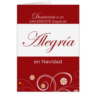 Sacerdote, alegría en el navidad, español tarjeta de felicitación