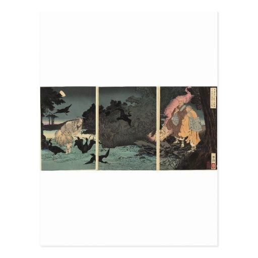 Sacerdote budista y el pescador C. 1885 Tarjetas Postales