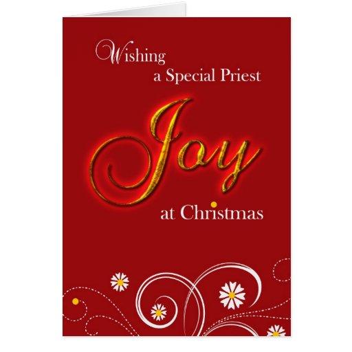Sacerdote católico, alegría en el navidad felicitación