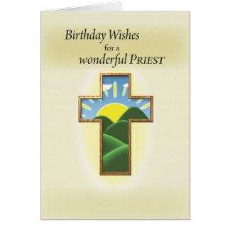 Sacerdote de 3272 cumpleaños, cruz tarjeta de felicitación