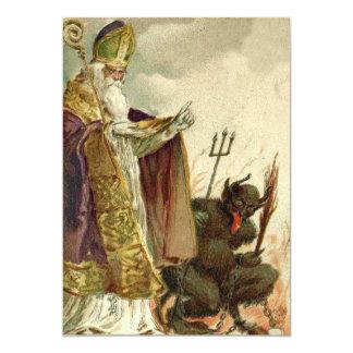 Sacerdote del Pitchfork de San Nicolás Krampus Invitación 12,7 X 17,8 Cm