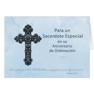 Sacerdote español del aniversario de la tarjeta de felicitación