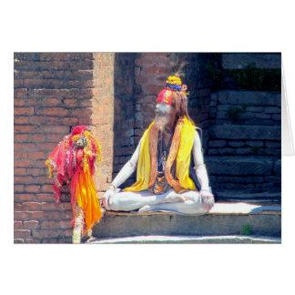 Sacerdote hindú en Katmandu, Nepal-AKA BIZCOCHO BO Tarjeta Pequeña