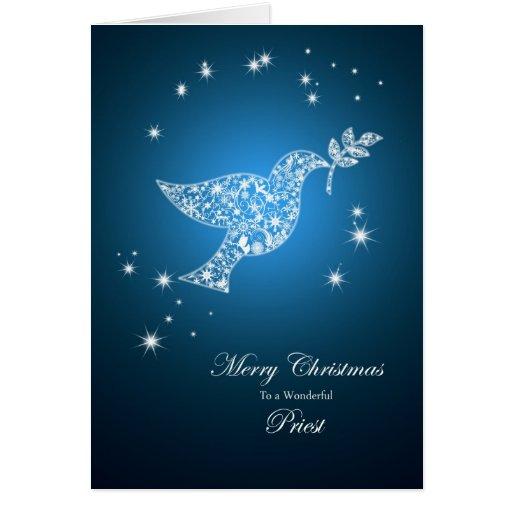 Sacerdote, paloma de la tarjeta de Navidad de la p