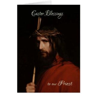Sacerdote - pintura en el aceite de Jesús, tarjeta