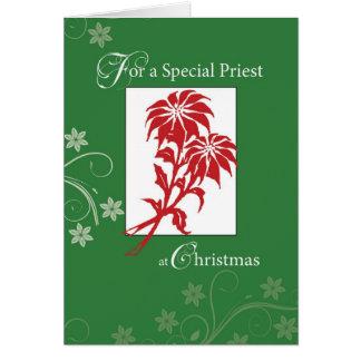 Sacerdote, Poinsettias del navidad Tarjeta De Felicitación