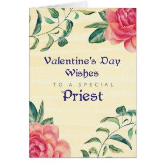 Sacerdote, rosas del el día de San Valentín en Tarjeta De Felicitación